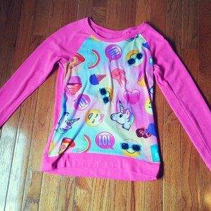Girl's Size 14 Emoji Pink Long Sleeve Sweater